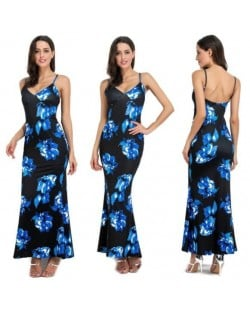 Flowers Printing Straps High Fashion Women One-piece Dress - Blue