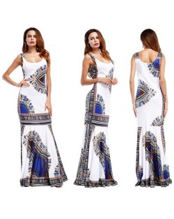 Folk Style Printing Straps One-piece Women Fashion Long Dress - White