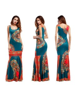 Folk Style Printing Straps One-piece Women Fashion Long Dress - Green