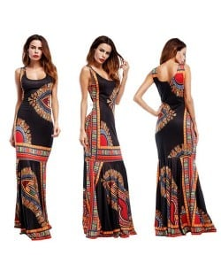 Folk Style Printing Straps One-piece Women Fashion Long Dress - Black