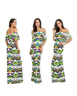 Cartoon Printing Wrap Chest Flouncing Design One-piece Women Fashion Long Dress