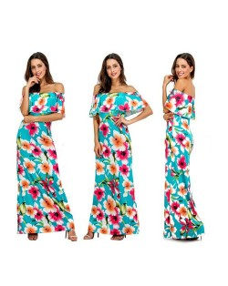 Summer Flowers Printing Beach Style Wrap Chest Flouncing Design One-piece Women Long Dress