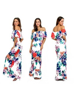 Blooming Flowers Printing Wrap Chest Flouncing Design White One-piece Women Long Dress