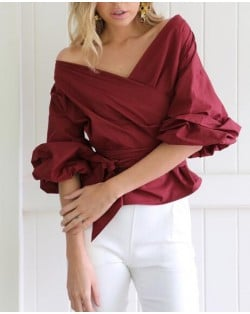 Off Shoulder Three-quarter Sleeves Bowknot Decorated High Fashion Women Top - Wine Red