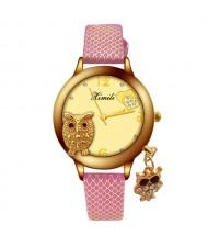 Unique Design Golden Owl Young Lady Fashion Wrist Watch - Rose