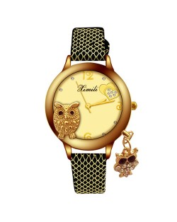 Rhinestone Embellished Young Lady Fashion Stainless Steel Wrist Watch - Rose Gold and Pink