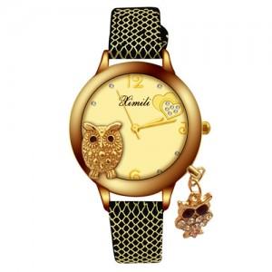 Unique Design Golden Owl Young Lady Fashion Wrist Watch - Black
