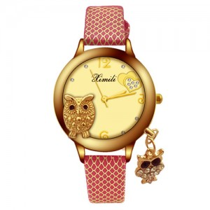 Unique Design Golden Owl Young Lady Fashion Wrist Watch - Red