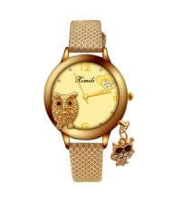 Unique Design Golden Owl Young Lady Fashion Wrist Watch - Brown