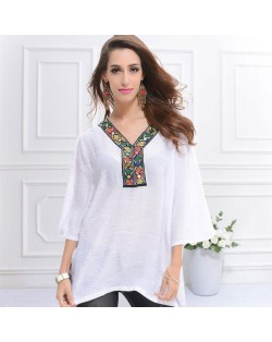 Embroidery V-neck Three-quarter Sleeves Casual Folk Style Women Top - White