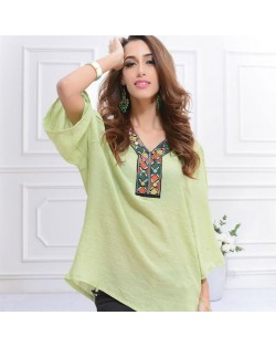 Embroidery V-neck Three-quarter Sleeves Casual Folk Style Women Top - Green