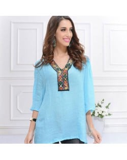 Embroidery V-neck Three-quarter Sleeves Casual Folk Style Women Top - Sky Blue