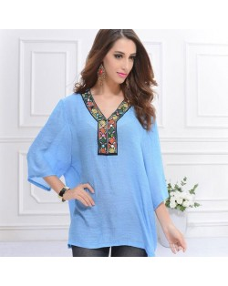 Embroidery V-neck Three-quarter Sleeves Casual Folk Style Women Top - Jeans Blue