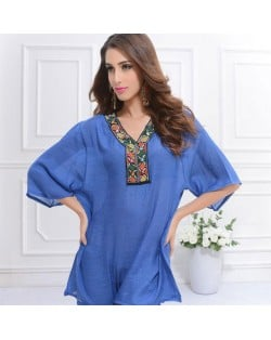 Embroidery V-neck Three-quarter Sleeves Casual Folk Style Women Top - Purplish Blue