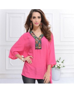 Embroidery V-neck Three-quarter Sleeves Casual Folk Style Women Top - Rose