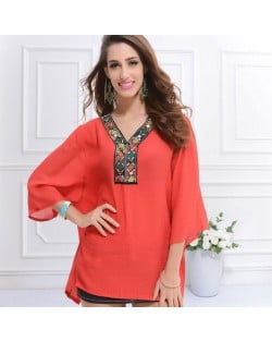 Embroidery V-neck Three-quarter Sleeves Casual Folk Style Women Top - Watermelon Red