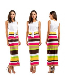 Beach Style White Top and Strips Printing Dress Two-piece Fashion Set - Brown