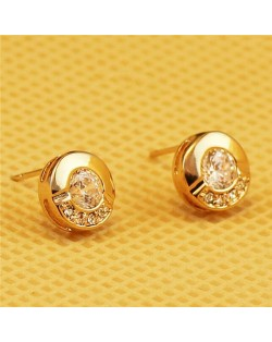 Rhinestone Embellished Round 18k Rose Gold Stud Earrings