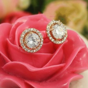 Shining Rhinestone Floral Design 18k Rose Gold Stud Earrings
