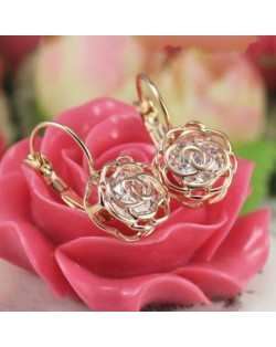Crystal Inlaid Hollow Roses Design 18k Rose Gold Earrings