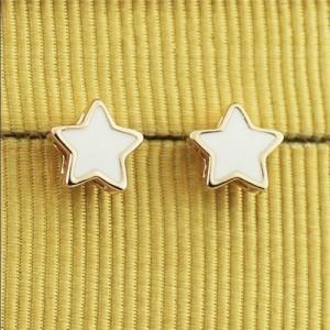 White Stars 18k Rose Gold Ear Studs