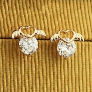 Rhinestone Inlaid Angel Heart Design 18k Rose Gold Ear Studs