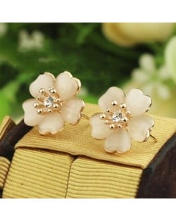 Rhinestone and Opal Vivid Dimensional Flower Design 18k Rose Gold Earrings