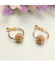 3 Colors Available Austrian Crystal Embellished Ball Pendant 18k Rose Gold Earrings