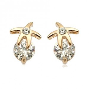 Rhinestone Inlaid Starfish 18k Rose Gold Ear Studs