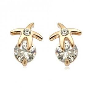 Rhinestone Inlaid Starfish 18k Rose Gold Ear Studs