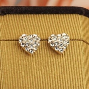 Rhinestone Inlaid Romantic Heart 18k Rose Gold Ear Studs
