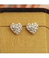 Rhinestone Inlaid Romantic Heart 18k Rose Gold Ear Studs