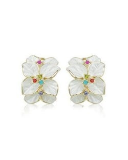 Colorful Rhinestones Embellished Dimentional Floral Design 18k Rose Gold Stud Earrings