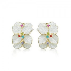 Colorful Rhinestones Embellished Dimentional Floral Design 18k Rose Gold Stud Earrings