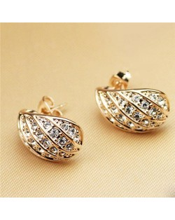 Rhinestone Embellished Pea Shape 18k Rose Gold Stud Earrings