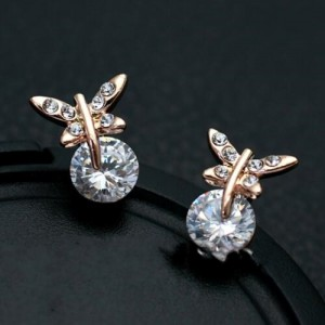 Glistening Rhinestone and Crystal Butterfly 18k Rose Gold Earrings