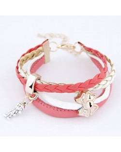 Kid and Bowknot Pendants Leather Bracelet - Pink