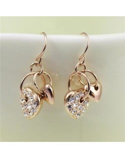 Rhinestone Inlaid Dangling Hearts Design 18k Rose Gold Earrings