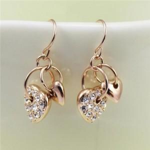 Rhinestone Inlaid Dangling Hearts Design 18k Rose Gold Earrings