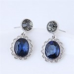 Vintage Hollow Floral Rimmed Ink Blue Czech Stones Embellished Fashion Stud Earrings