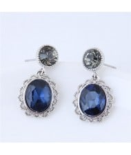 Vintage Hollow Floral Rimmed Ink Blue Czech Stones Embellished Fashion Stud Earrings