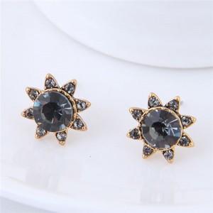 Czech Stones High Fashion Sun Flower Design Costume Stud Earrings