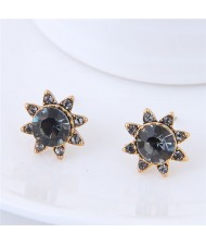 Czech Stones High Fashion Sun Flower Design Costume Stud Earrings
