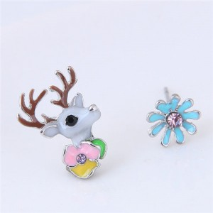 Cute Deer and Flowers Asymmetric Fashion Stud Earrings
