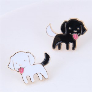 Adorable Black and White Dogs Asymmetric Fashion Stud Earrings