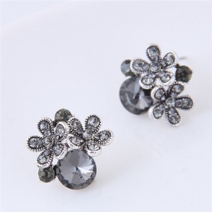 Czech Stones Shining Flowers Cluster Design Korean Fashion Costume Stud Earrings