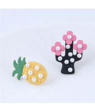 Pearl Attached Pineapple and Cactus Asymmetric Fashion Stud Earrings