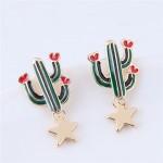 Korean Fashion Cactus and Golden Star Design Costume Stud Earrings
