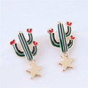 Korean Fashion Cactus and Golden Star Design Costume Stud Earrings