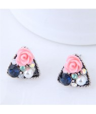 Czech Stone and Pearl Inlaid Vivid Flower Triangle Fashion Stud Earrings - Pink